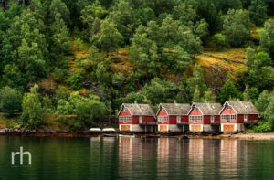 Flåm, Norway, Boat Sheds, Huts