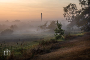 Landscape image of foggy sunrise on Ross River in Townsville, Q, Australia