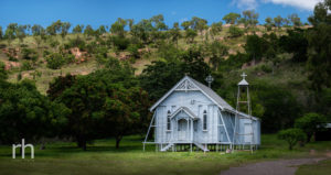 Landscape image of Catholic Church at the foot of Mt Stuart, Townsville, Q, Australia